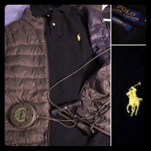 Men's Ralph Lauren Polo: Black with Yellow Logo M